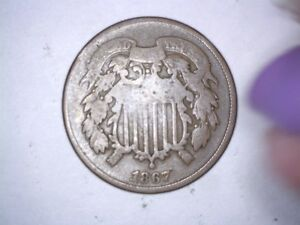 X  Old Original Rare 1867 Bronze 2 Two Cent Civil War Era Coin
