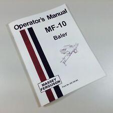 MASSEY FERGUSON MF-10 BALER OWNERS OPERATORS MANUAL BOOK MAINTENANCE