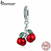 Bamoer 925 Sterling Silver charm Summer Red Cherry Dangle Fit Bracelet Jewelry