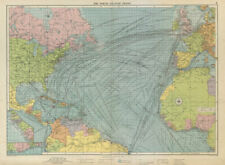 North Atlantic Ocean sea chart. Ports lighthouses mail routes. LARGE 1952 map