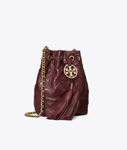 Tory Burch- Fleming Soft Mini Bucket Bag (Royal Burgundy) Discontinued- NEW