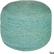 Large Jute Ottoman, Teal Braid Weave Textured Round Pouf Natural Braided for Sit