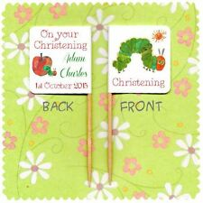 20 PERSONALISED CHRISTENING CUP CAKE FLAG THE HUNGRY CATERPILLAR Baptism Topper