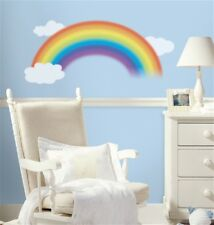 """RAINBOW Giant 42"""" Wall Decals White Clouds Mural Room Decor Nursery Stickers"""