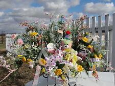 Birthday Bear Cemetery Grave Flower Arrangement Tombstone Saddle Stuffed Animal