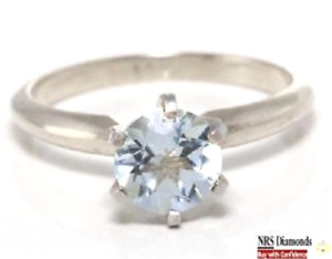 0.80ct Natural Aquamarine Solitaire Solid 14K White Gold Ring Engagement Wedding