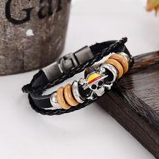 Black Braided Leather Beaded Skull & Cross Bones Bracelet/cuff/wristband/7.5 in