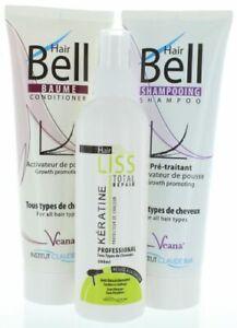 HairLiss Hitzeschutz + HairBell Shampoo & Conditioner wie HairJazz HairPlus Haar