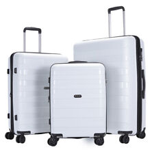 GinzaTravel luggage set 3 piece PP white Lightweight Spinner Expandable Suitcase