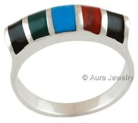 Multi Stones Gemstone Solid 925 Sterling Silver Boho Ring Jewelry R2269-3