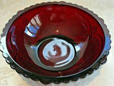 Vintage Avon Cape Cod Collection Ruby Red Serving Bowl 8 3/4""