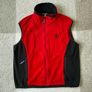 Pearl Izumi Mens Full Zip Up Vest Red Black Pockets Size Large Windbreaker