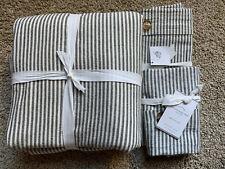 POTTERY BARN Wheaton Stripe FULL/QUEEN Duvet & 2 EURO Shams NEW - Gray