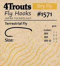 Terrestrial Fly Hooks #12, 100 pcs/pack for Bugs, Hoppers. Brand: 4Trouts #1571