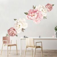 AU_ Peony Flower Self-Adhesive Wall Sticker Home Bedroom Living Room Decal Decor