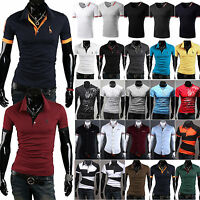 Luxury Mens Slim Fit POLO Shirt Stylish Short Sleeve Casual Formal T-shirts Top