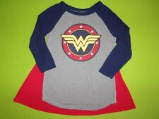 DC Comics Wonder Woman Longsleeve Shirt Top w/ Cape Girls Teen Juniors XS