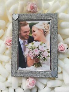 Grey / Silver Photo Picture Frame Silver Love Heart Wedding Anniversary Gift