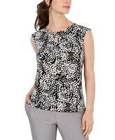 Kasper Womens Blouse Black Multi Size Small S Printed Keyhole Sleeveless $49 384