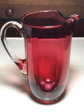 Bohemian Crystal Cranberry Glass Pitcher