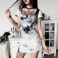 Punk Gothic Ladies Black Tie Dye Print Dress Square Collar Bodycon Mini Dress