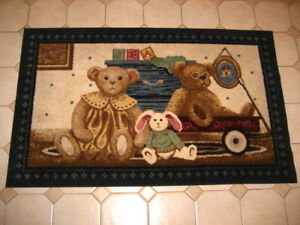 "Baby Room Area Rug 63""X39"" Non Skid Children Kids Teddy Bears & Bunny Rabbit NEW"