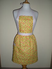 SALE 20% OFF Vintage handmade candy striper style yellow red cherry apron NEW