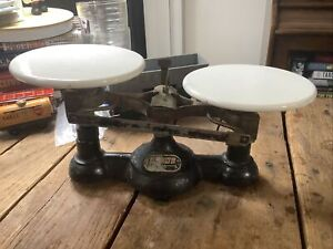 Antique Ohaus Beam Balance Scale Cast Iron & Porcelain