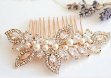 Women Boho Rose Gold Crystal Pearl Leaf Bride Hair Comb hair accessory Clip Pin