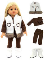 """Vest Pants & White Boots 4 PC Set Doll Clothes For 18"""" American Girl Dolls"""