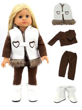 """4 PC Heart Vest Brown Top Pants White Boots Winter Set For 18"""" American Girl"""
