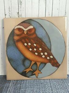 Ceramic Tile Brown Owl Wall Decor Hanging Hot Plate Backsplash Mural Art Elany