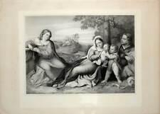 Die heilige Familie - Palma Vecchio - Große Lithographie-Hanfstaengl 1835-52
