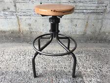 CIRCLE TURNER - RARE Industrial Vintage Machinist Timber Bar Stool. Adj Height.