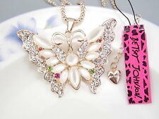 Betsey Johnson Fashion Cute Crystal White Opal Butterfly Pendant Necklace # S