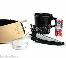 VINTAGE BARBER STYLE SHAVING KIT 5 PCS Cut Throat Straight Razor & Leather Strop