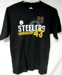 Pittsburgh Steelers Men Medium Screened Troy Polamalu #43 T-shirt C1 1142