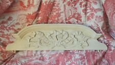 Antique French solid wooden pediment or fronton, ribbon, off white, time worn
