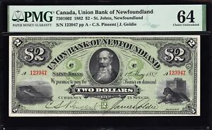 1882 Union Bank of Newfoundland $2 in PMG UNC64