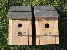 Pair of Wild Bird Nest Box Wood Natural Welsh Larch & Welsh Slate 25mm & 32 mm