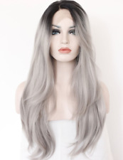 Kryssma Ombre Gray 2 Tones Synthetic Lace Front Wig Dark Roots Long Natural Grey