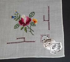 DESCO Ladies Handkerchief Embroidered Pink Yellow Blue Flowers Hand Rolled Hem