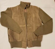 Van Heusen Preowned Male Size L Olive Green Leather/Nylon Nit Jacket.