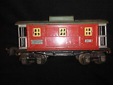 LIONEL LINES METAL MODEL 2657 SERIES CABOOSE O GAUGE RED WITH GREEN ROOF