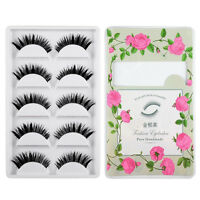 Handmade Thick Long False Eyelashes Mink Eye Lashes Natural Makeup 5 Pairs-