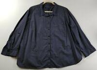 Tommy Hilfiger Women's Long Sleeve Button Down Shirt 1X Blue White Polka Dots