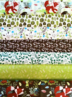 Fat Quarter Bundle 7 Fabric Cotton Animal Green Blue Red Craft Quilt Quarters