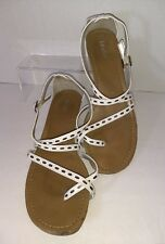 Dexter Womens White Strappy Wedge Heel  Sandal Size 8 ribbon accent