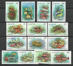 ST KITTS 1984 MARINE LIFE FISH SPECIMEN OPT 14v MNH