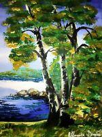 Malerei Leinwand 100 cm Canvas PAINTING art landscape landschaft tree birke baum